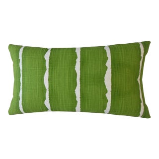 Green Striped Lumbar Pillow For Sale