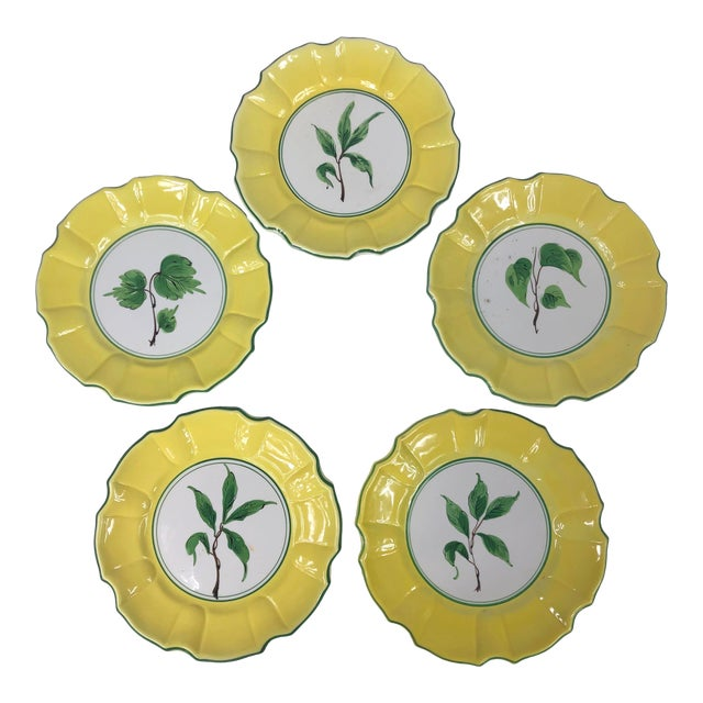 Italian Yellow and Green Hand Painted Leaf Salad/Dessert Plate - Set of 5 For Sale