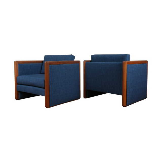 Navy Blue Mid-Century Club Chairs- A Pair - Image 1 of 10