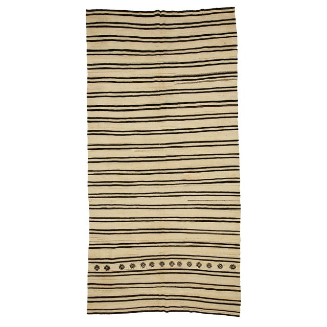 Textile 1960s Vintage Striped Natural Kilim Rug- 6′2″ × 12′1″ For Sale - Image 7 of 7