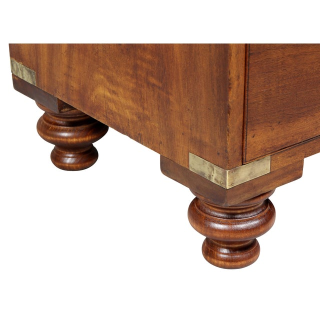 Metal Regency Campaign Mahogany Chest For Sale - Image 7 of 11