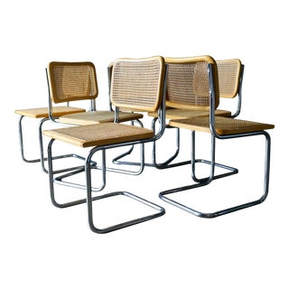Set of 6 Cesca Cane and Bentwood Dining Chairs by Marcel Breuer, Ca. 1960 For Sale