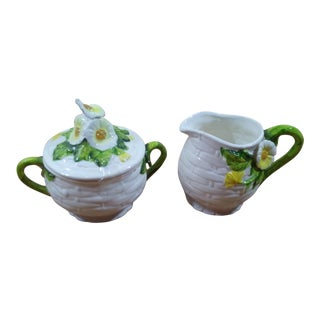 1960s Mid-Century Modern Lefton Ceramic Cream and Sugar Set - 2 Pieces