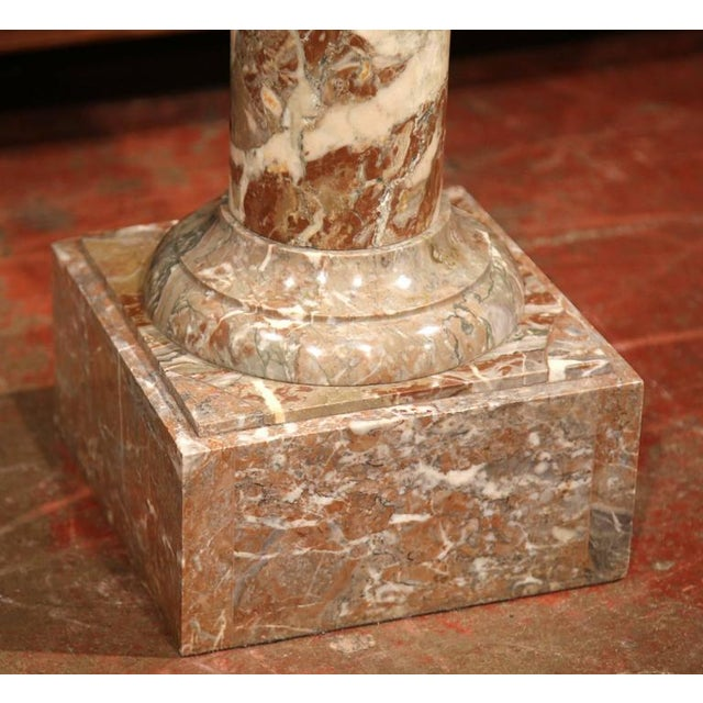 19th Century French Carved Red Marble Swivel Top Pedestal For Sale - Image 4 of 6