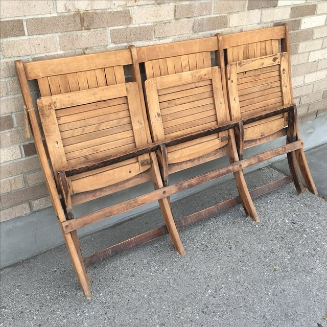 Vintage Tandem Folding Stadium Theatre Seats For Sale - Image 5 of 7