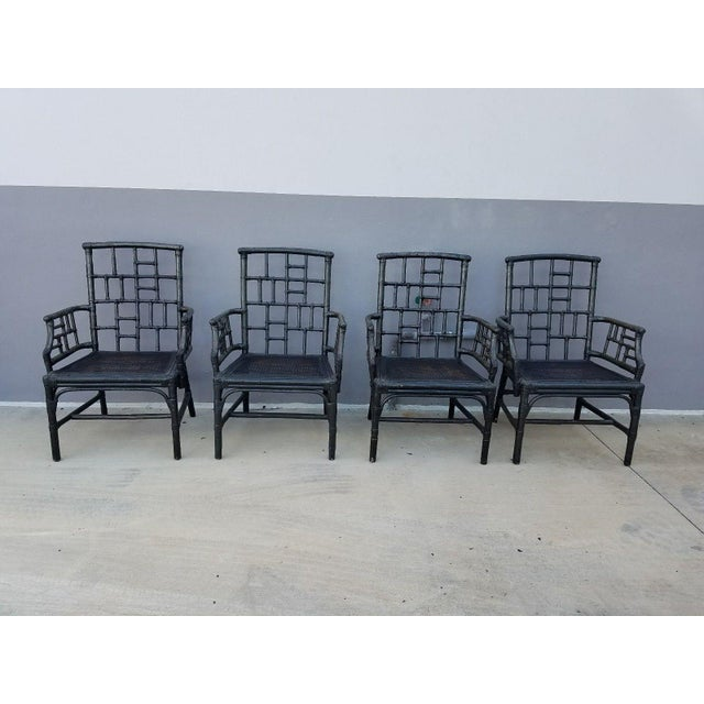 Chinese Chippendale Baker Milling Road Rattan Arm Chairs - Set of 4 For Sale - Image 12 of 12