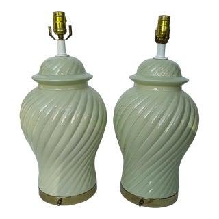 Ceramic Celadon Green Ginger Jar Lamps - A Pair