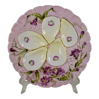 French Porcelain Hand-Painted Violets on Pink Oyster Plate