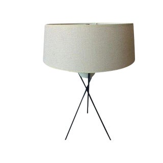 1950's Mid-Century Modern Gerald Thurston for Lightolier Black Metal Tripod Lamp