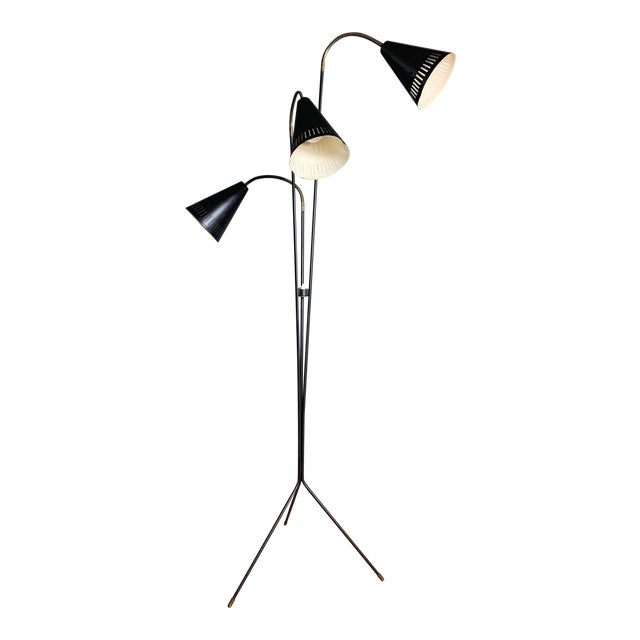 Danish 1960s Lacquered Metal & Brass 3-Cone Floor Lamp For Sale