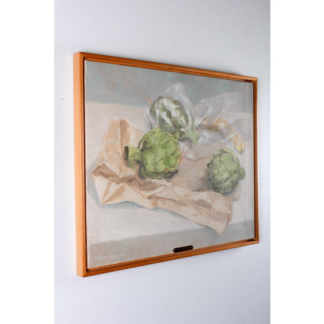 "Green Pat Ralph ""Still Life With Artichokes"" Oil Painting For Sale - Image 8 of 11"