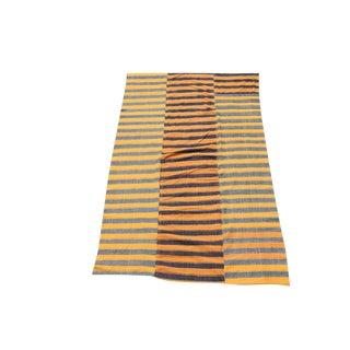 Vintage Mid-Century Turkish Modern Handmade Striped Flatweave Textile Rug - 5′4″ × 8′7″ For Sale