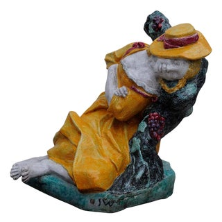 Josef Wackerle For Nymphenburg Lifesize Porcelain Figure Sleeping Shepherdess For Sale