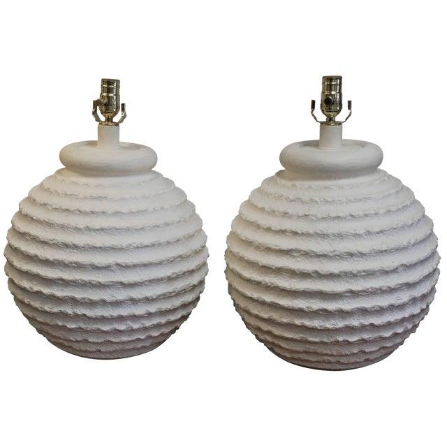 Bulbous Plaster Lamps - a Pair For Sale
