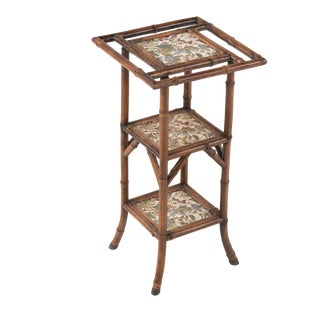 19th Century Antique English Jackson Bros Shelton Jackson on Trent Tile Bamboo Etagere Stand For Sale