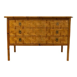 Chest of Drawers With Three Drawers, Bamboo Marquetry, Circa 1970, France For Sale