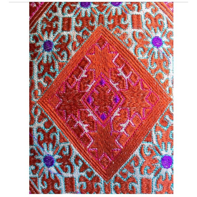 """These beautifully embroidered silk pillows are made in the Swaat Valley on the India Pakistan border. """"Phulkari""""..."""