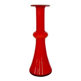 Holmegaard Bright Red Glass Vase For Sale