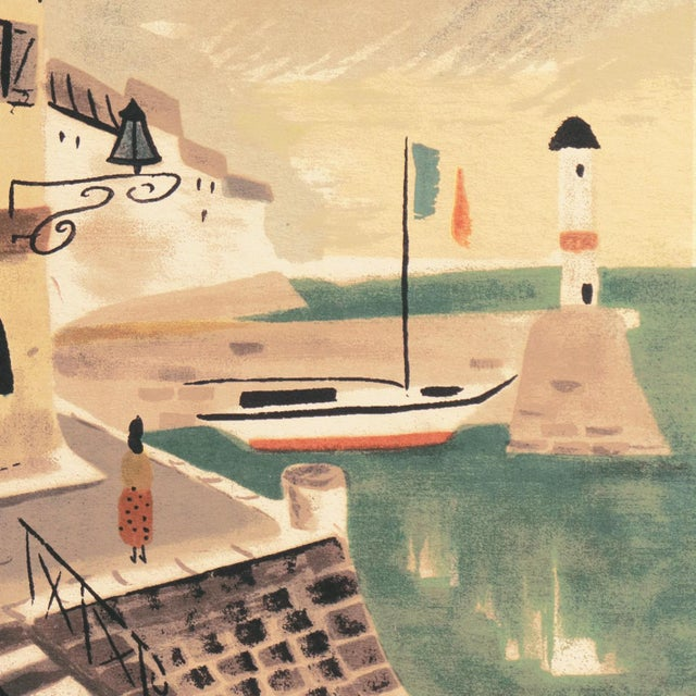 'Breton Village With Lighthouse' by Charles De Montfort, Mid-Century French Post-Impressionist For Sale - Image 4 of 8