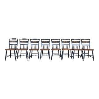 L. Hitchcock Black Harvest Inn Painted Maple Chairs - Set of 8