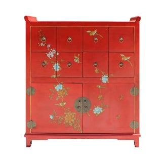 Chinese Red Veneer Print Graphic Side Table Drawers Cabinet For Sale