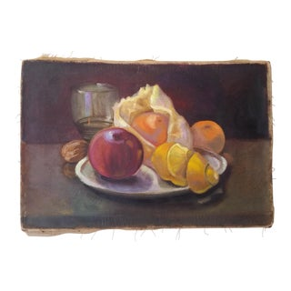 Antique Fruit Still Life on Canvas, Unsigned
