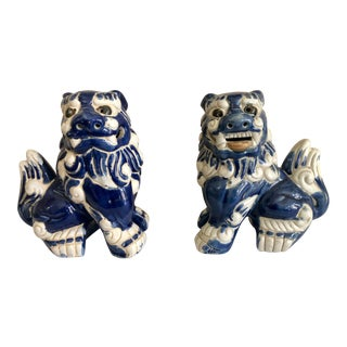 Vintage Majolica Blue and White Foo Dogs - a Pair For Sale