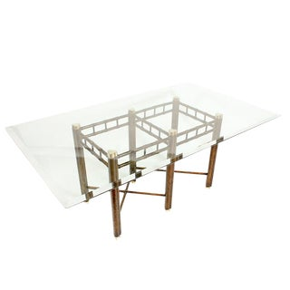 Oil Dropped Lacquer Dining Table With Glass Top For Sale