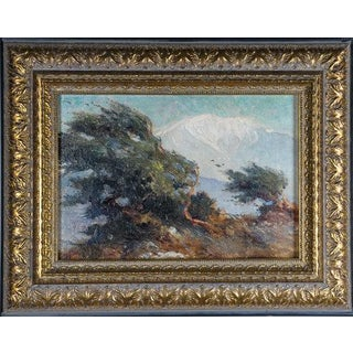 Vintage Mid-Century Arnold Mountfort ''Mount Baldy'' Oil on Board Painting For Sale