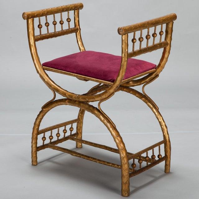 Gilt Wood Egyptian Style Stool With Velvet Seat - Image 2 of 5