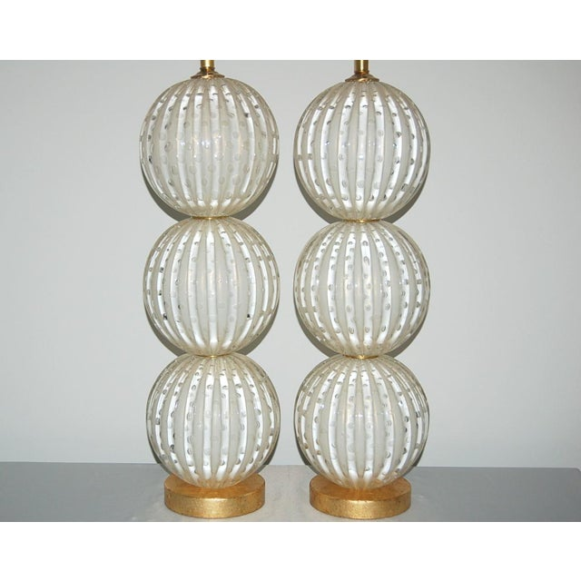 2010s Murano Glass Stacked Ball Table Lamps White Gold Bubbles For Sale - Image 5 of 11