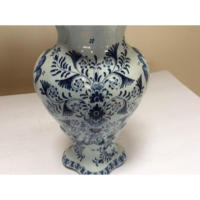 Delft Style Decorative Lidded Jar For Sale - Image 5 of 9