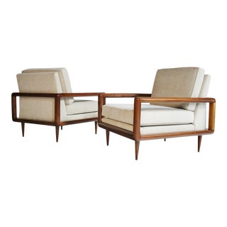 Pair of Mid-Century Open Arm Cubed Walnut Lounge Chairs For Sale