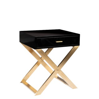 Kristy Lacquered Black Nightstand, Showroom Sample For Sale