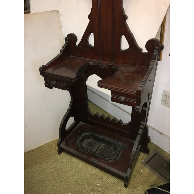 Old Victorian Walnut Hall Tree Umbrella Stand For Sale - Image 5 of 11