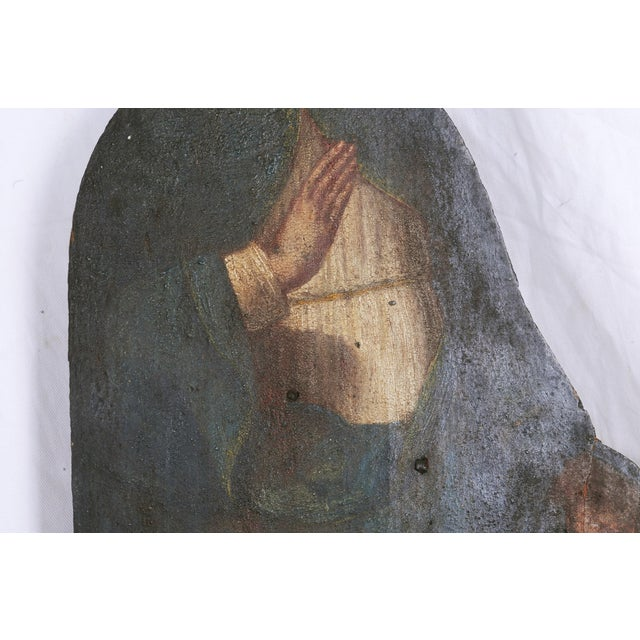 Italian Mid 19th Century Painted Noble Saint on Board Painting For Sale - Image 3 of 5
