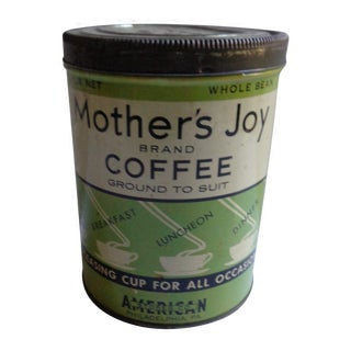 1930s Vintage Mother's Joy Tin Coffee Can For Sale