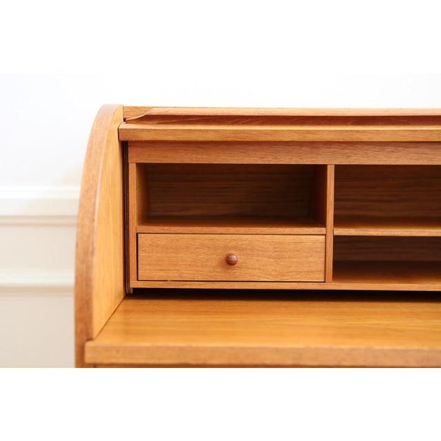 danish mid century modern cylinder roll top desk 1960s chairish. Black Bedroom Furniture Sets. Home Design Ideas