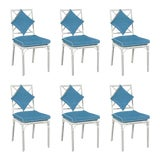 Image of Haven Outdoor Dining Chairs, Canvas Sapphire with Canvas White Welt - Set of 6 For Sale