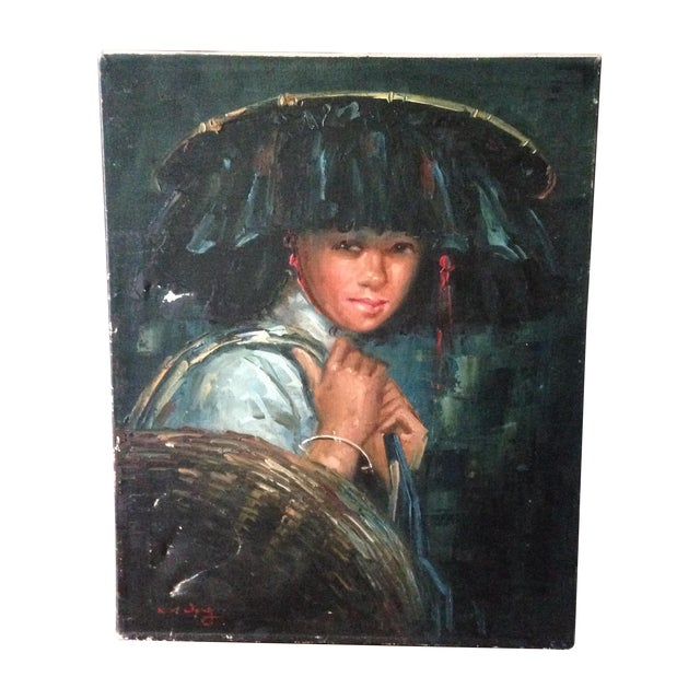Vintage Portrait of Young Woman, Oil on Canvas - Image 1 of 11