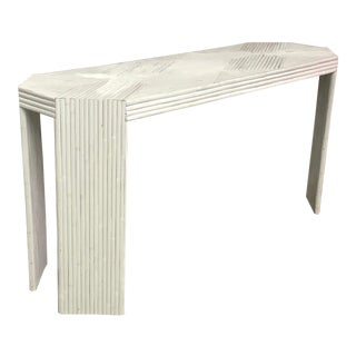 Vintage Gabriella Crespi Style Split Reed Rattan Sofa Console Table For Sale