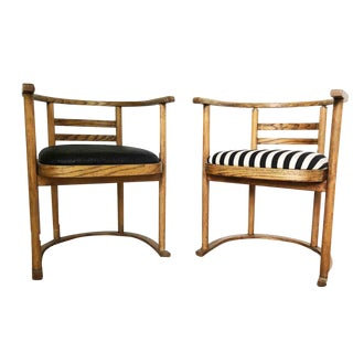 Vintage French Joseph Hoffman Style Chic Chairs - a Pair