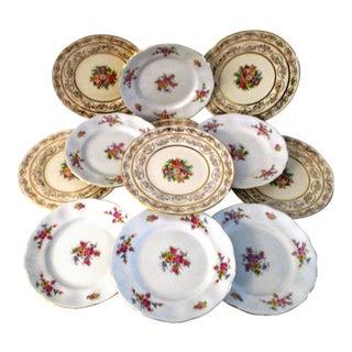 Vintage Gold & Floral Spray Plates - Set of 12