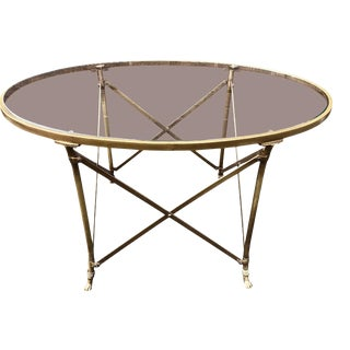 1940s Directoire Style Brass & Glass Coffee Table For Sale