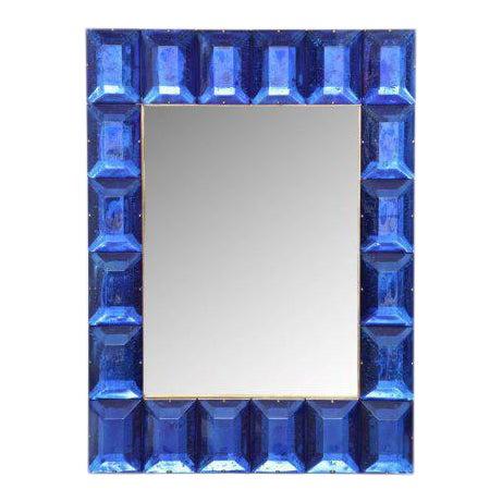 Cobalt Blue Diamond Murano Glass Mirror For Sale