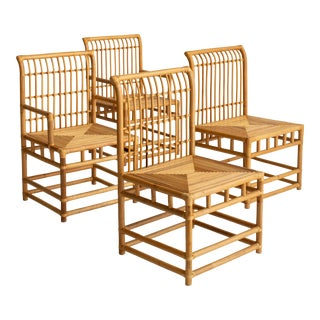 Mid 20th Century McGuire Style Rattan Dining Chairs - Set of 4