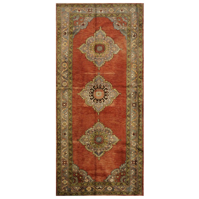 Vintage Turkish Oushak Rug - 5'x11' For Sale