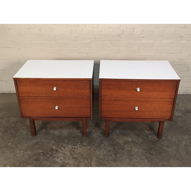 Mid-Century Danish Modern White Top Nightstands - a Pair - Image 10 of 10