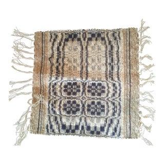 1960s Boho Chic Reversible Wool Weaving Rug Saddle Blanket For Sale