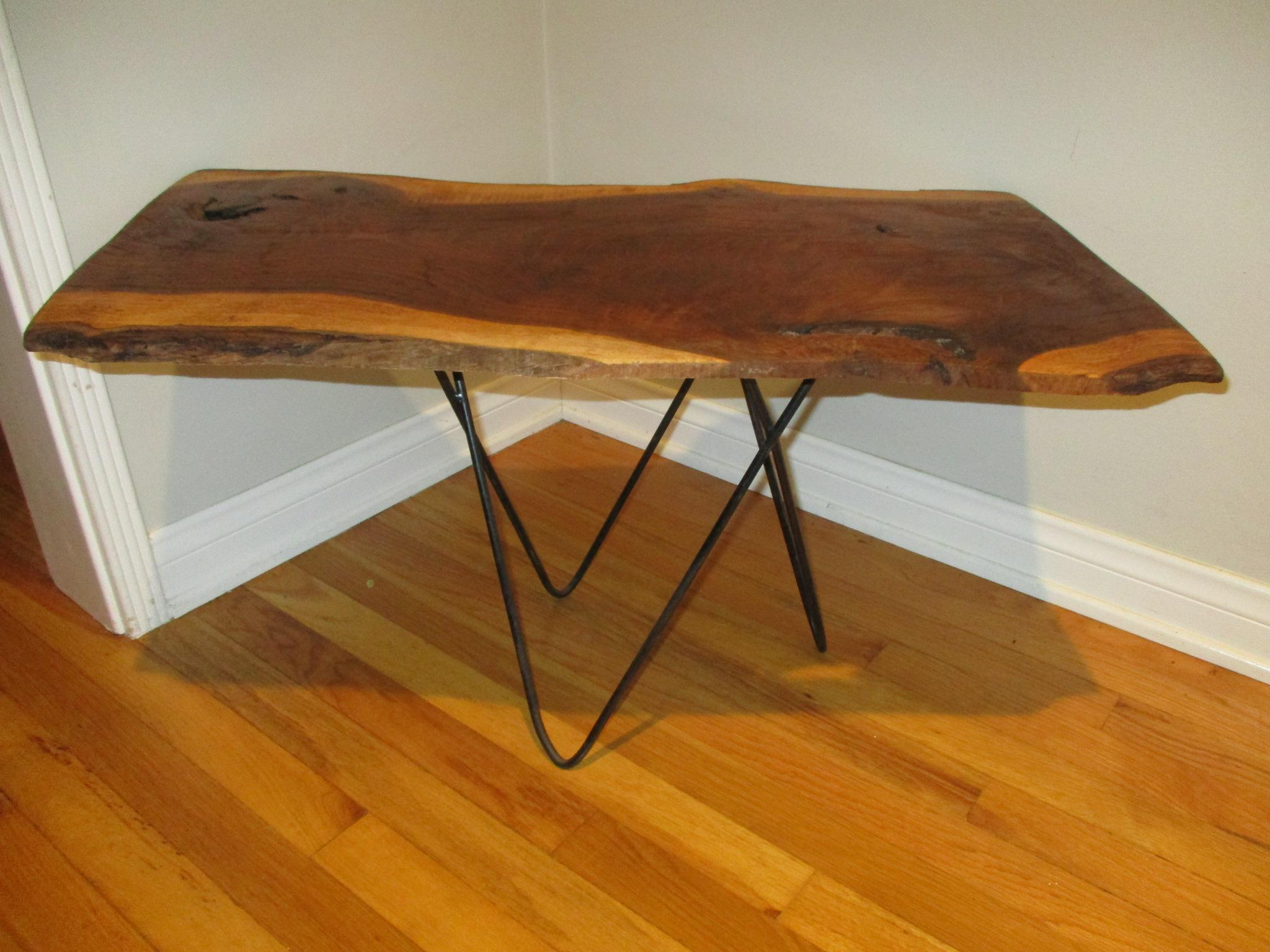 Beau Brown Live Raw Edge Slab Wood Coffee Table For Sale   Image 8 Of 11
